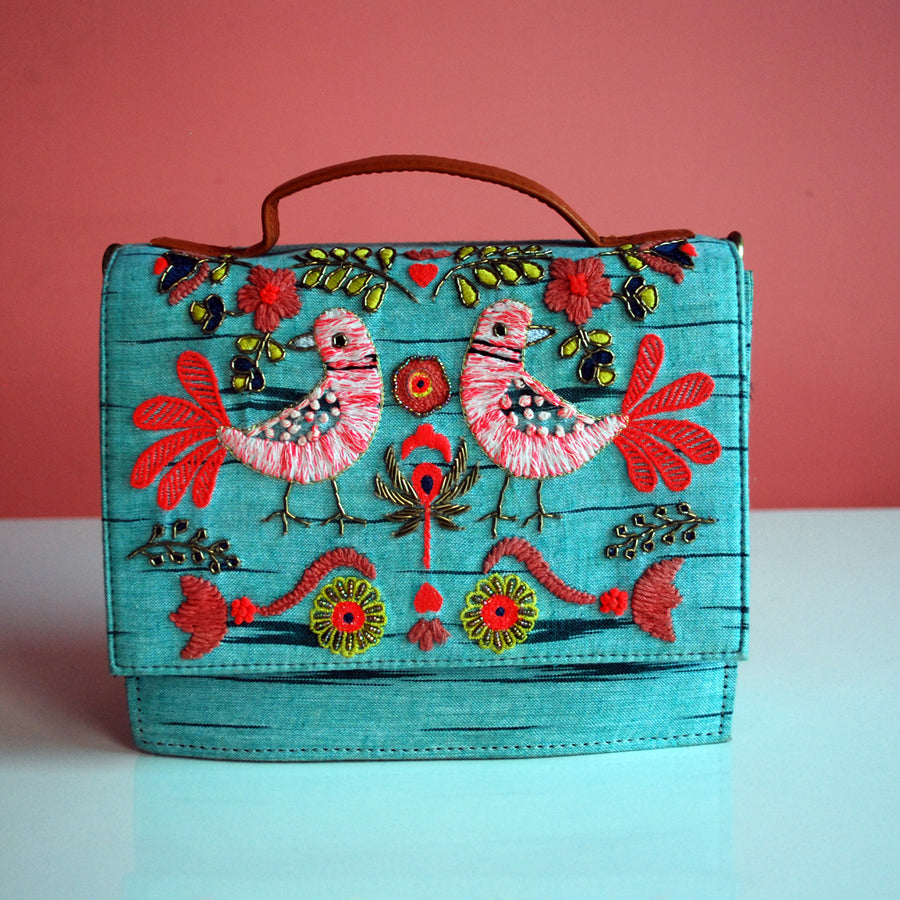 SLING BAG- SEA GEREEN (EMBROIDERED)