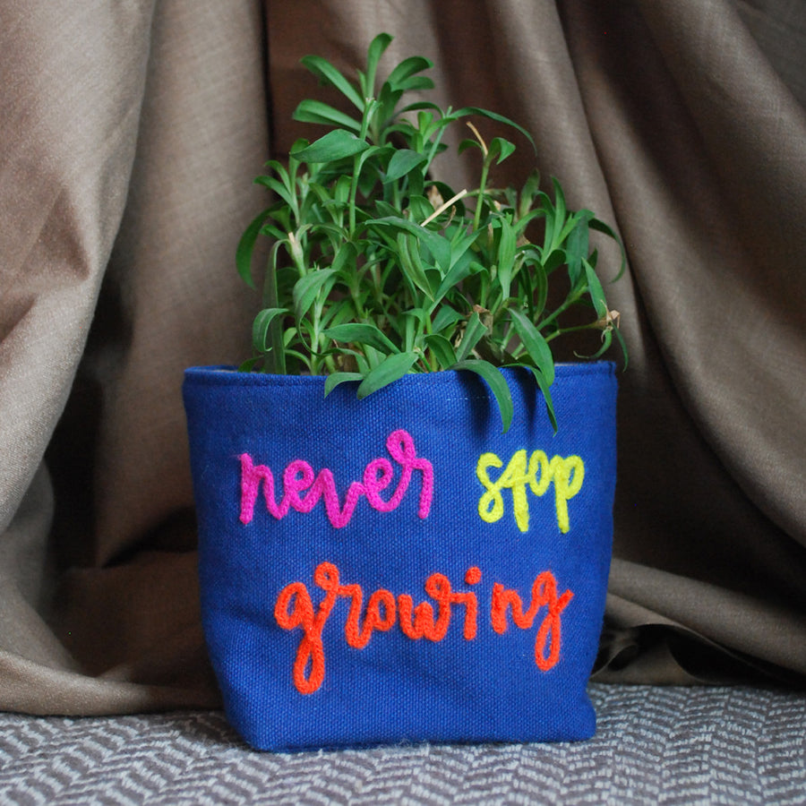 Gift your loved ones this hand embroidered plant cover which can also come with your favourite plant. The perfect eco friendly present!
