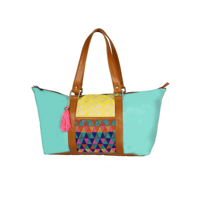 Patterned Travel Bag: Sea Green