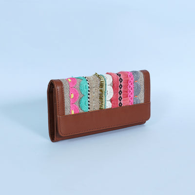 New Multi Lace Hand Wallet : Brown