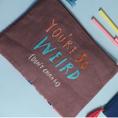 Oversized pouch -Ipad case -you are so wierd