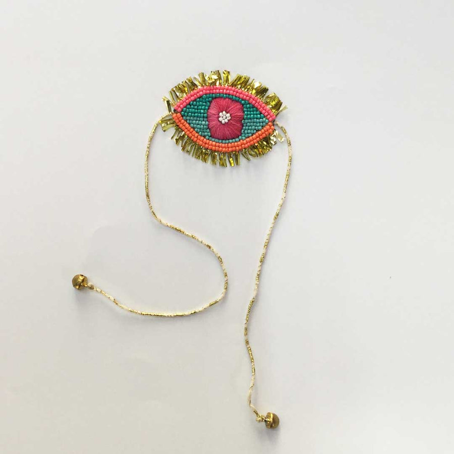 Embroidered Rakhi Magnets- Evil Eye (Sea Green & Golden)
