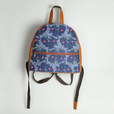 Floral Small Backpack: Tan