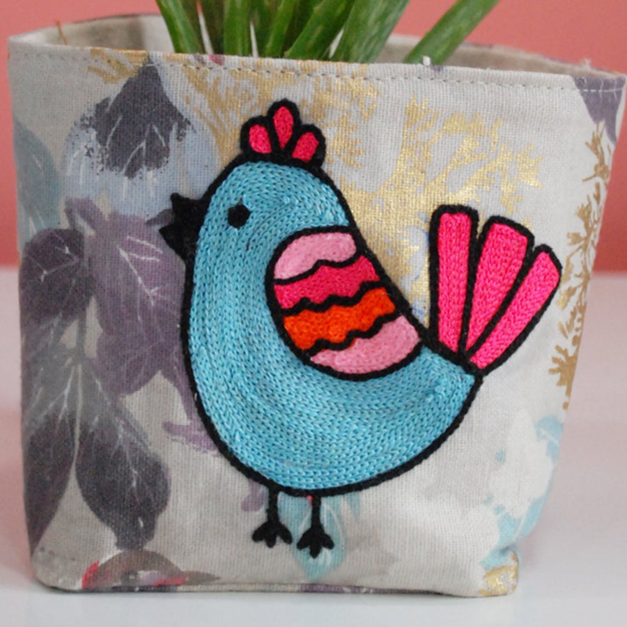 BIRD PATTERN EMBROIDERY ON PLANT COVER
