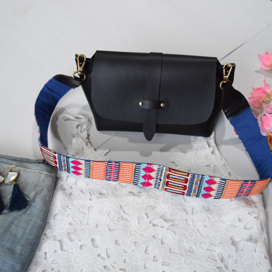 MULTI STRAP SLING BAG- BLACK (WITH EMBROIDERED HANDLE)