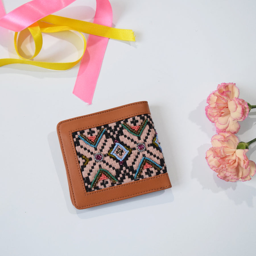 Blush Pink Pocket Wallet: Tan