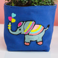 ELEPHANT PATTERN EMBROIDERY PLANT COVER WITH A REFRESHING GREEN PLANT