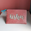 Personalized Flat Name Pouch Pink Velvet