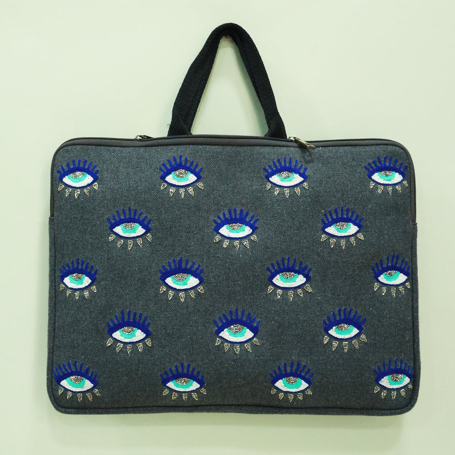 LAPTOP SLEEVE- EVIL EYE GREY  (13 inches)