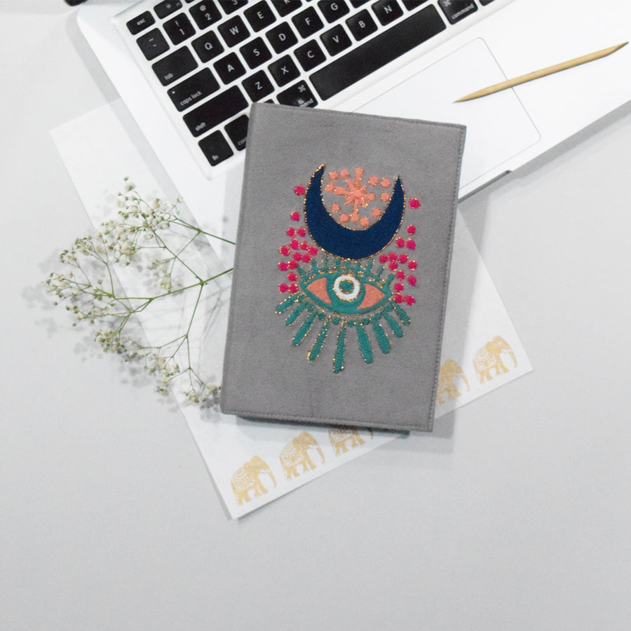 Embroidered Reusable Diary cover - EVIL EYE GREY