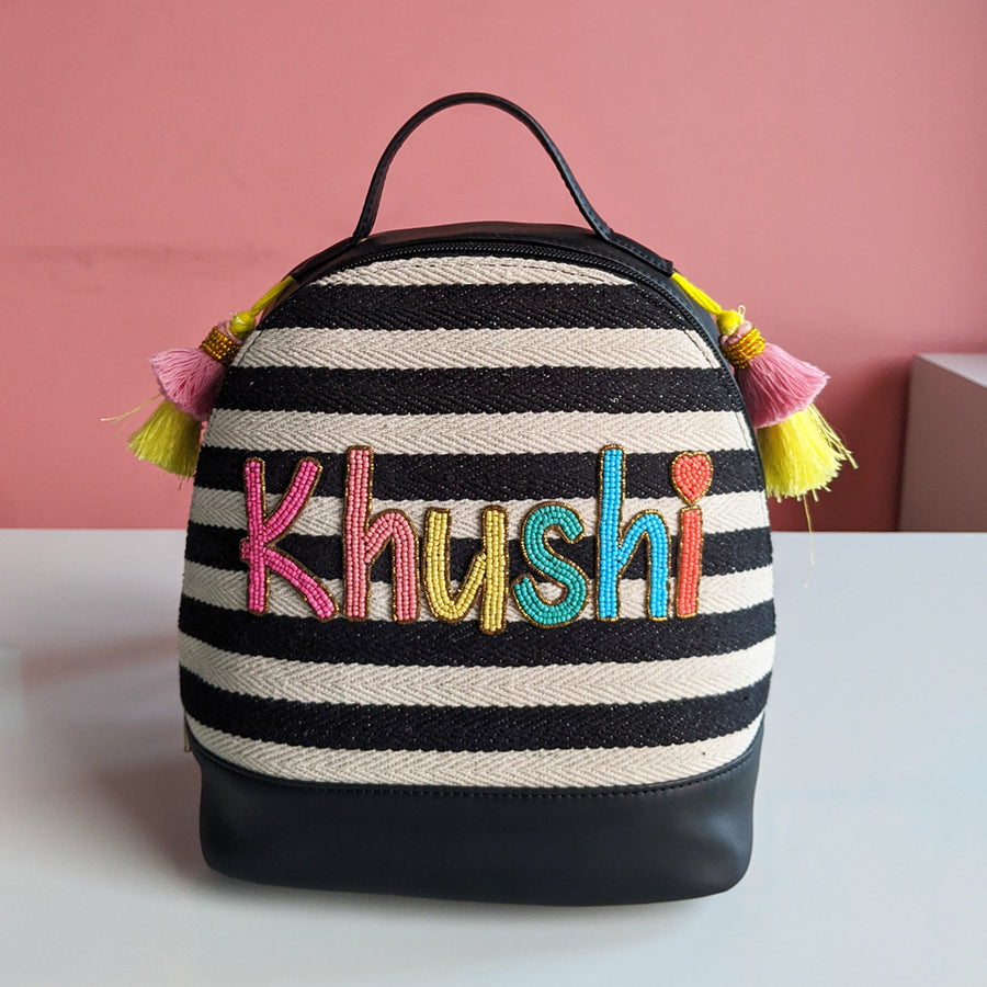 Personalized Backpack Black & White Stripes