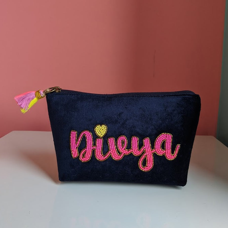 Personalized Navy Blue Velvet Namepouch