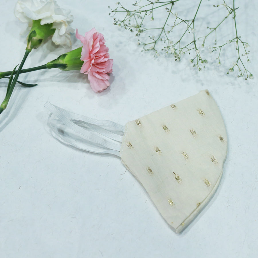 OFF White cotton  MASK  with gold dots by Desi Drama Queen