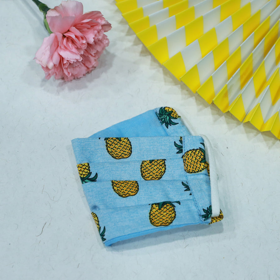 Kids Surgical Mask Blue (Pineapple) By Desi Drama Queen
