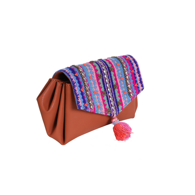 Pleated wallet - pink festive