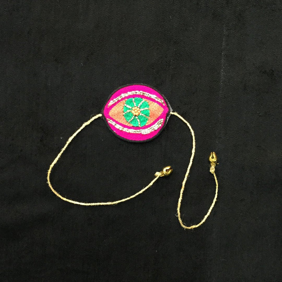 Embroidered Rakhi Magnets- Evil Eye (Peach & Pink)