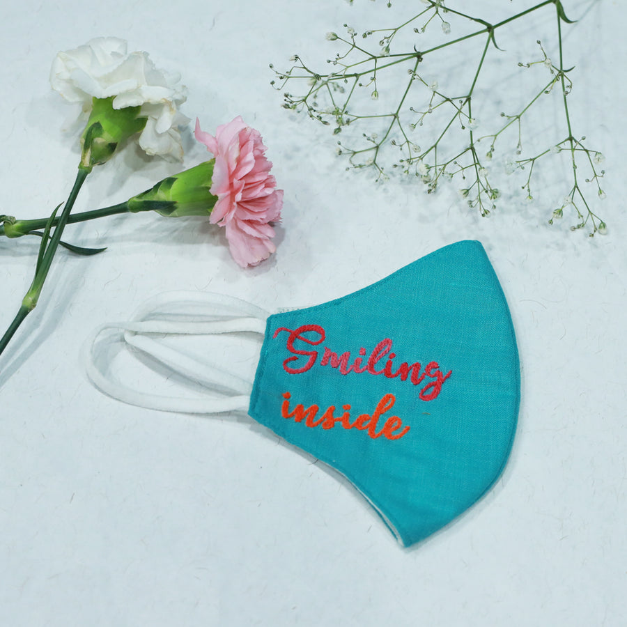 Embroidered Mask Sea Green (Smiling Inside) By Desi Drama Queen