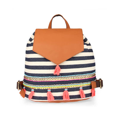 Nautical Stripes Backpack: Tan