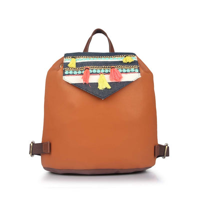 Embroidered Flap Backpack: Tan