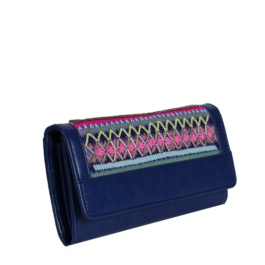 New Embroidered Hand Wallet : Blue