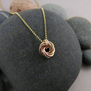 Algerian love knot necklace in 14K gold fill by Mikel Grant Jewellery.