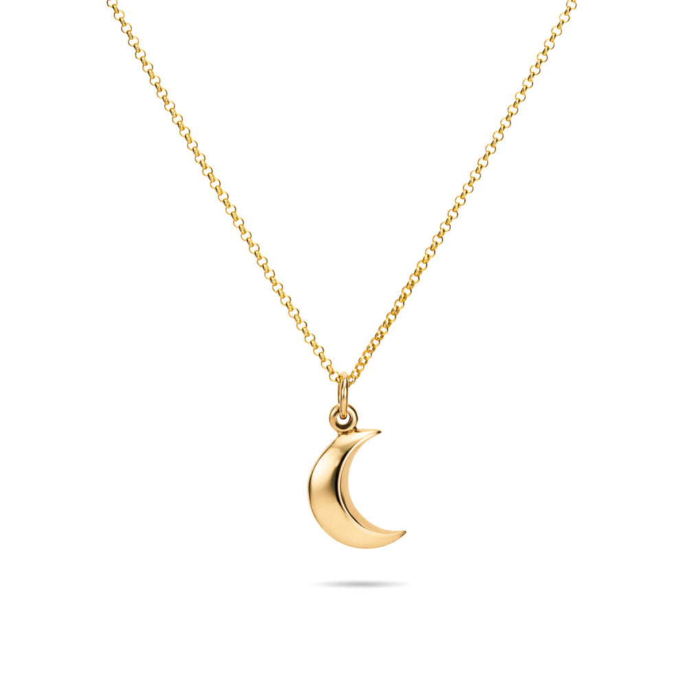 "Dream Necklace • 14 Karat Gold Crescent Moon Charm Necklace with 18"" Rolo Chain"
