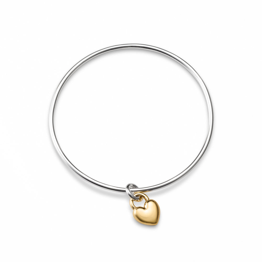 Sweethearts Charm Bangle • 14 Karat Gold Heart on a Sterling Silver Bangle