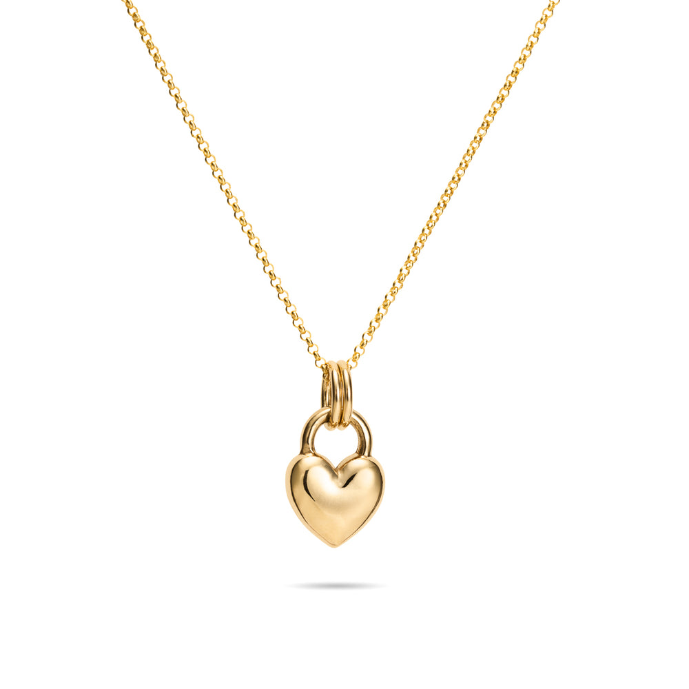 Gold Sweethearts Charm Necklace • Large 14K Gold Heart Charm on a 14K Rolo chain