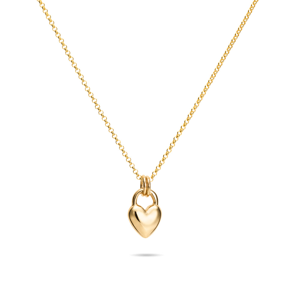 Gold Sweethearts Charm Necklace • Small 14K Gold Heart Charm on a 14K Rolo Chain