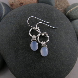 Artisan made soft blue chalcedony joy drop earrings in sterling silver by Mikel Grant Jewellery.