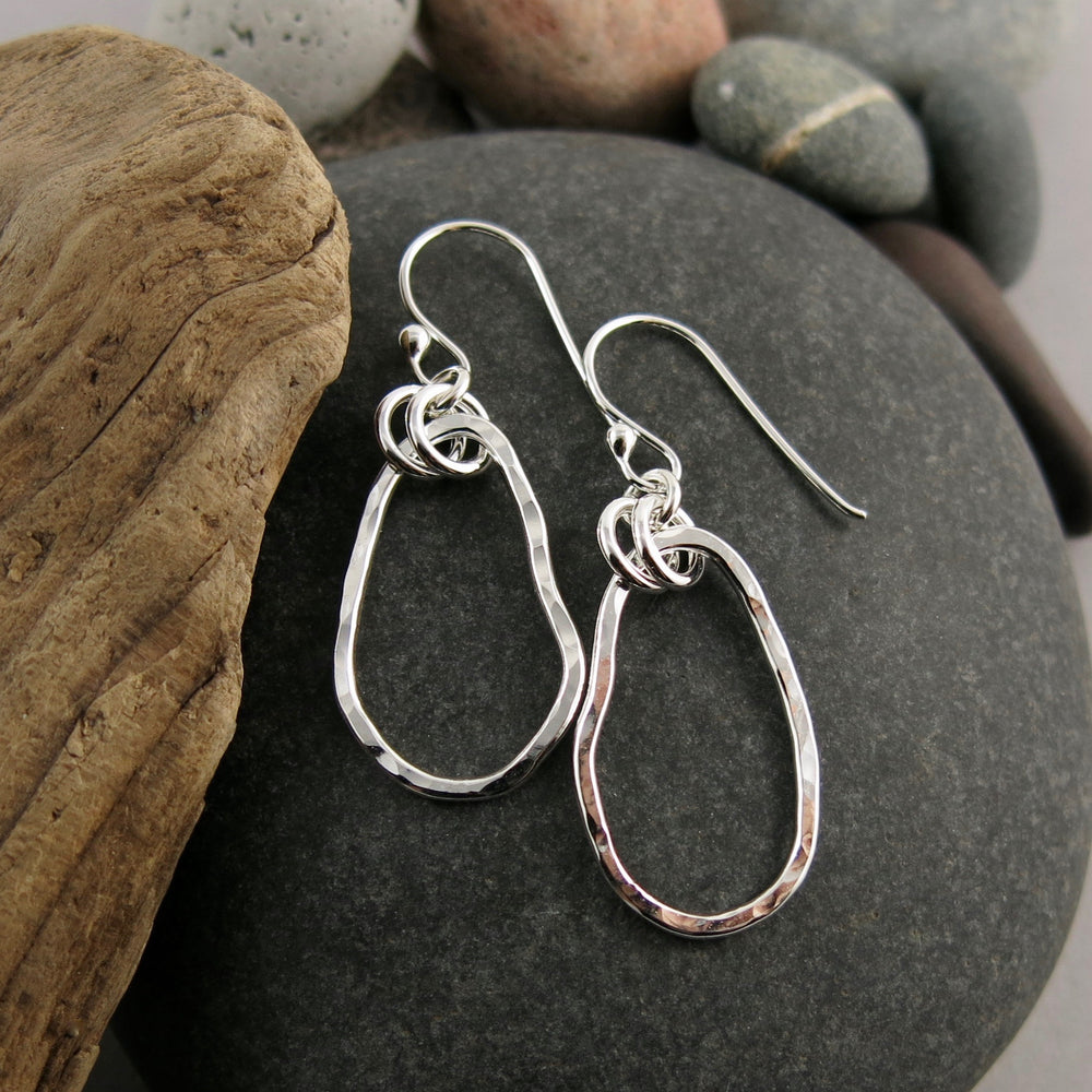 Classic Coast Earrings: west coast beach inspired free form sterling silver dangles with rustic hammer texture by Mikel Grant Jewellery