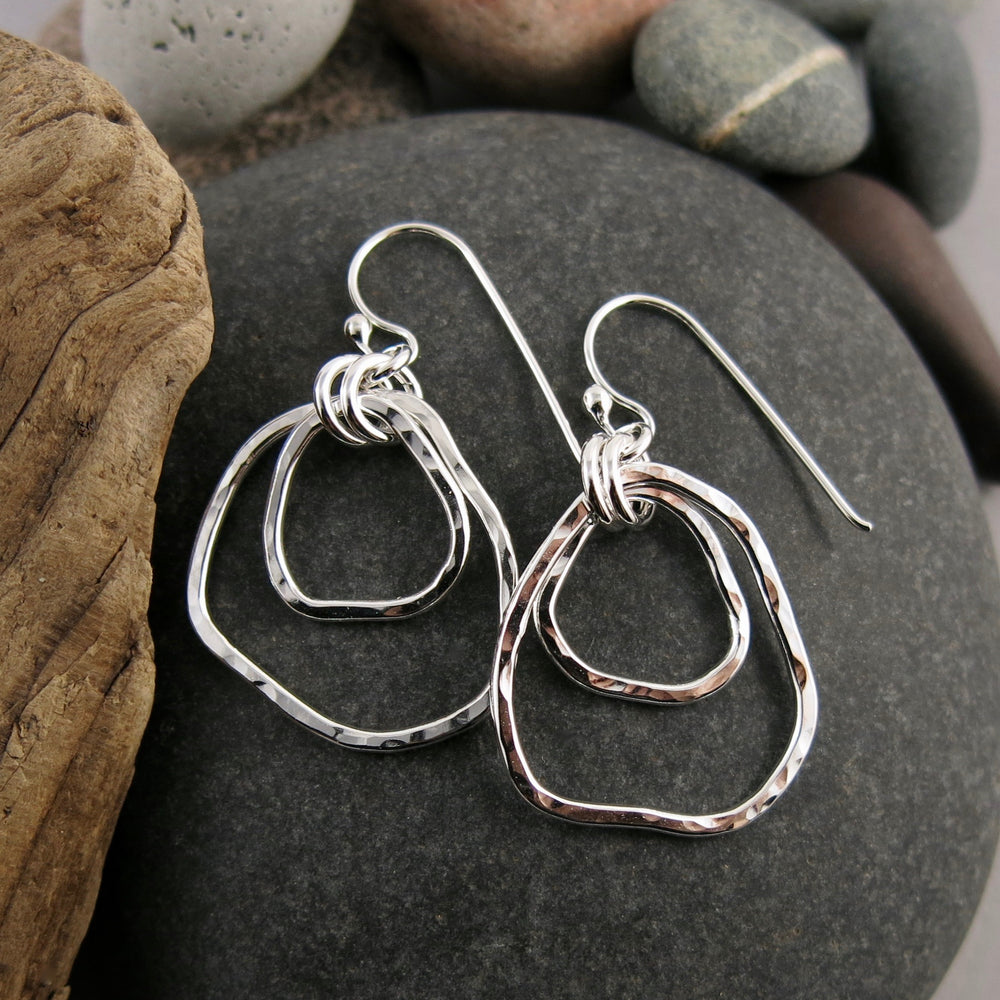 Coast Duo Earrings: beach inspired hammer textured free form sterling silver nesting dangle earrings by Mikel Grant Jewellery