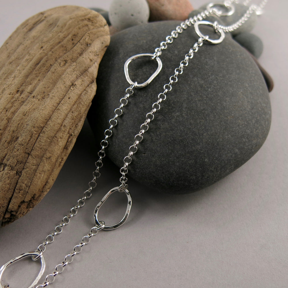 "Coast Long Chain Necklace: hammer textured free form sterling silver 30"" layering necklace by Mikel Grant Jewellery"