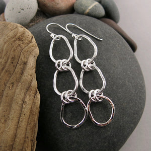 Coast Trio Drop Earrings • Hammer Textured Sterling Silver