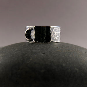 Dream Ring • Sterling Silver Crescent Moon on a Wide Oxidized Hammer Textured Sterling Silver Band