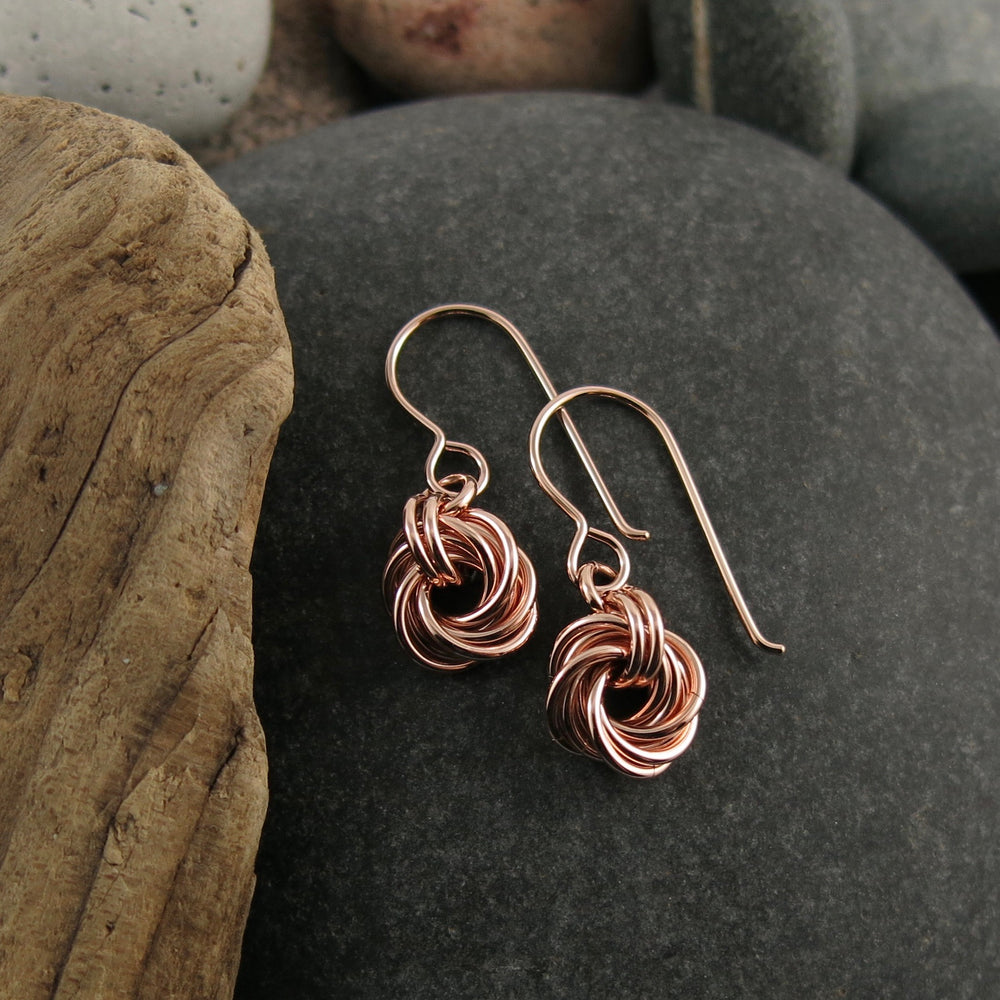 Algerian love knot earrings in 14K rose gold fill by Mikel Grant Jewellery.  Artisan made.