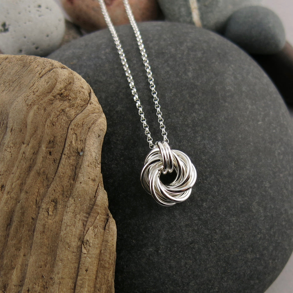 Endless Love Knot Necklace • Sterling Silver with Rolo Chain
