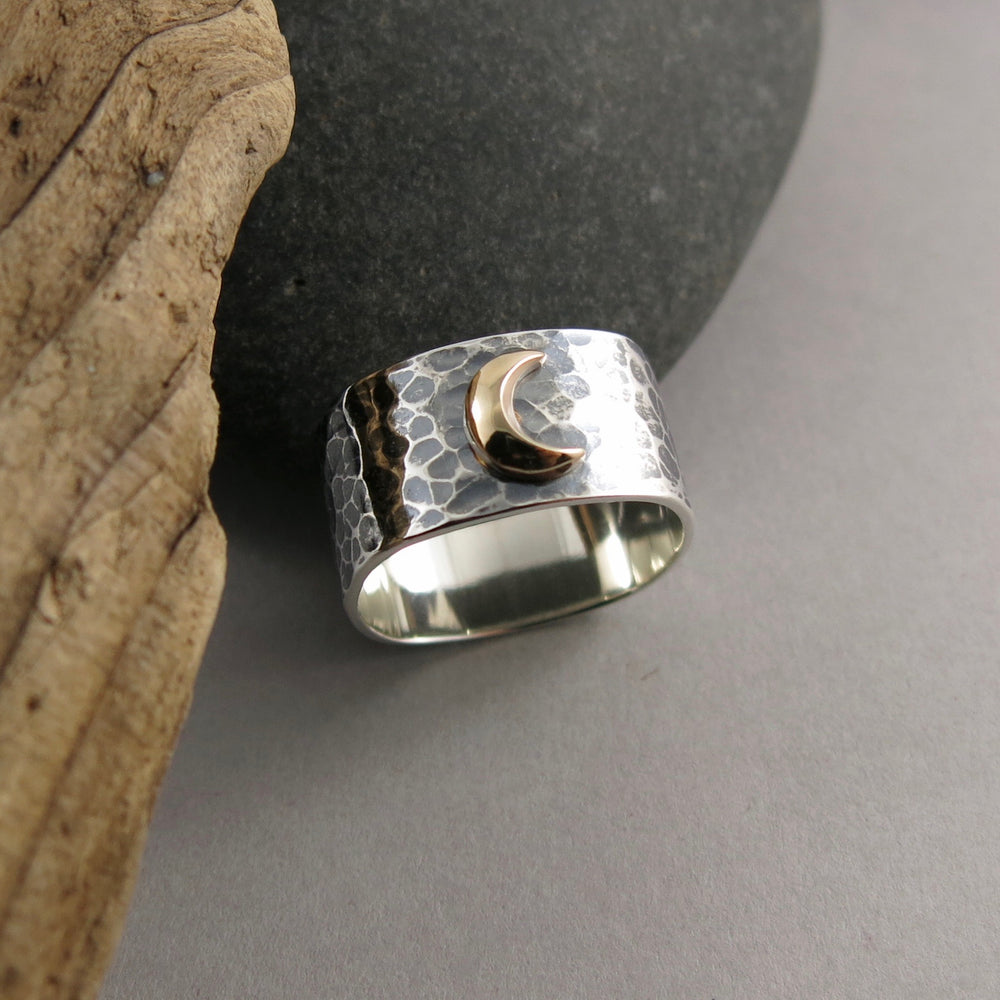 Dream Ring • 14K Gold Crescent Moon on a Wide Oxidized Hammer Textured Sterling Silver Band