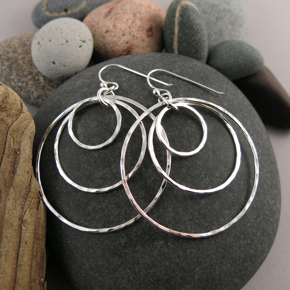 Nesting Trio Circle Earrings • Hammer Textured Sterling Silver