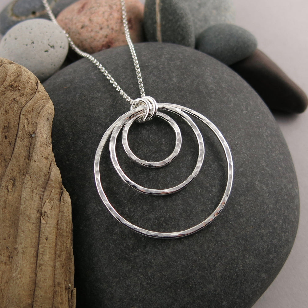 Nesting Trio Circle Necklace • Hammer Textured Sterling Silver with Rolo Chain