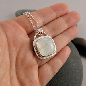One Of a Kind Natural Rainbow Moonstone and Sterling Silver Necklace with Rolo Chain