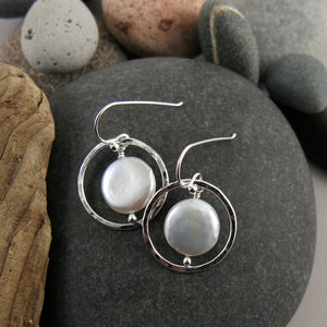 Sterling Silver Hammer Textured Coin Pearl Earrings