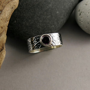 Jewel Drop Ring • Whimsical Garden Design in Oxidized Sterling Silver with Faceted Rhodolite Garnet