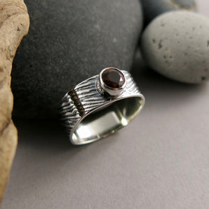 Artisan made jewel drop gemstone ring by Mikel Grant Jewellery.  Round faceted fire citrine on a soft square sterling silver band with oxidized portobello mushroom design.