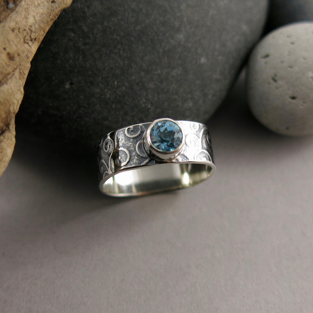 Jewel Drop Ring • Tendrils Design in Oxidized Sterling Silver with Faceted Swiss Blue Topaz
