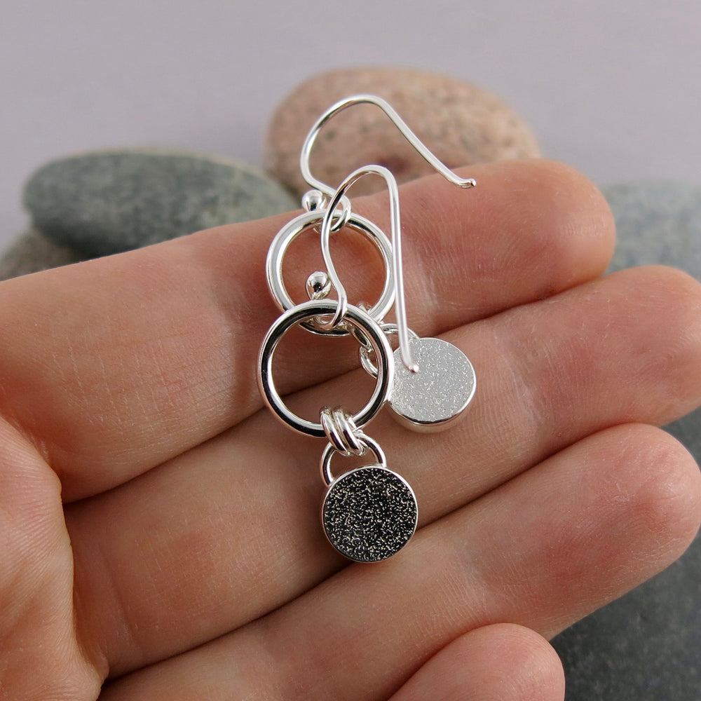 Artisan made kyanite joy drop earrings in sterling silver by Mikel Grant Jewellery. View of the back of the earrings.