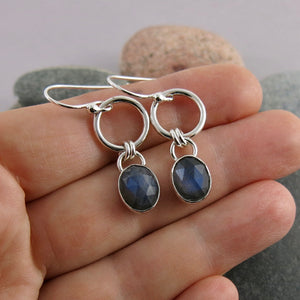 Artisan made labradorite joy drop earrings in sterling silver by Mikel Grant Jewellery.  Displayed on a hand.