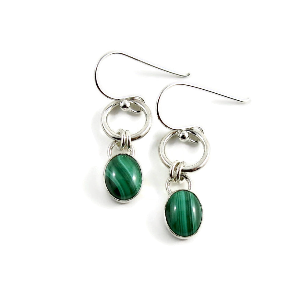 Artisan made malachite and silver joy drop earrings by Mikel Grant Jewellery.