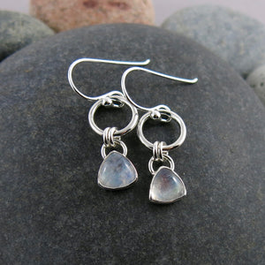 Artisan made moonstone joy drop earrings in sterling silver by Mikel Grant Jewellery.
