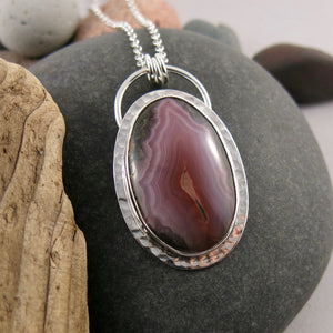 One Of a Kind Purple Laguna Agate Necklace in Sterling Silver with Rolo Chain